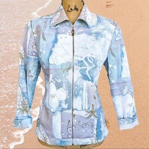 Rare ST. JOHN sport blue ocean art jacket
